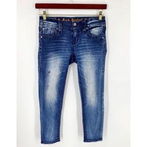 Rock Revival Moon Jeans Sz 26 Dark Blue Denim